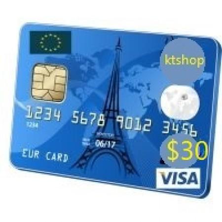 ویزا کارت مجازی  30 دلاری اروپا