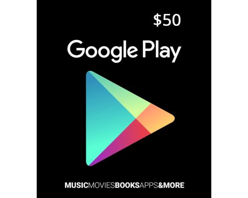 گیفت کارت گوگل پلی 50 دلاری